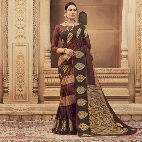 Triveni - Brown & Orange Color Chanderi Silk Casual Wear Saree With Blouse Piece