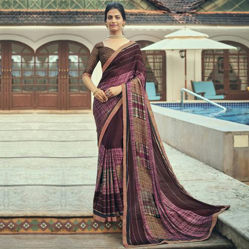 Triveni - Maroon & Pink Color Chiffon Casual Wear Saree With Blouse Piece