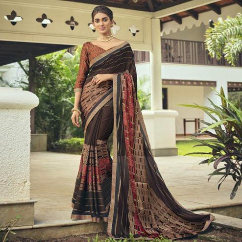 Triveni - Brown & Beige Color Chiffon Casual Wear Saree With Blouse Piece