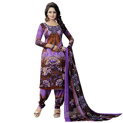 Violet - Brown Printed Salwar Suit