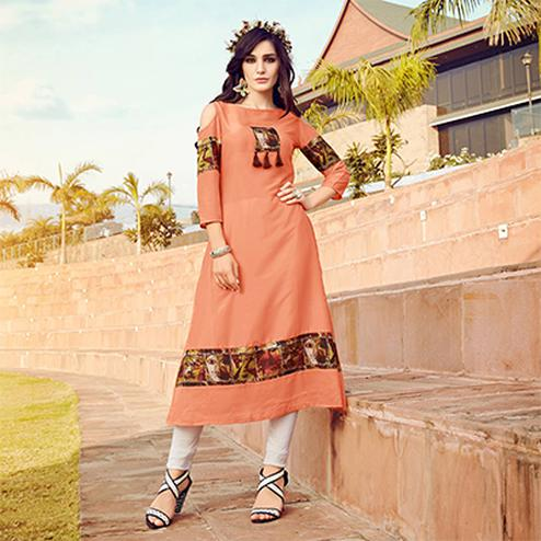 Attractive Peach Colored Fancy Designer Cotton Muslin Kurti