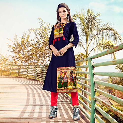 Classy Navy Blue Colored Fancy Designer Cotton Muslin Kurti