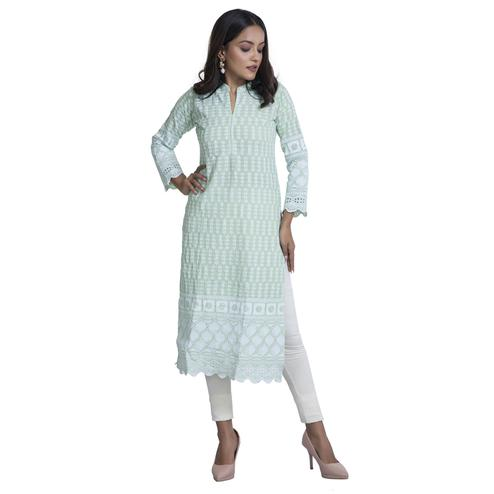 Zia Studio - Chikan Work Light Green Kurti