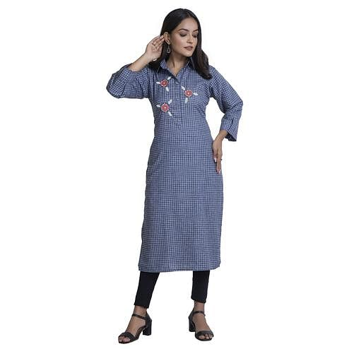 Zia Studio - Cotton Checks Blue Kurti