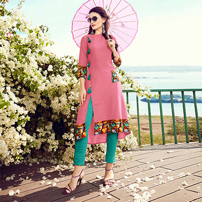 Ravishing Pink Colored Fancy Designer Cotton Muslin Kurti