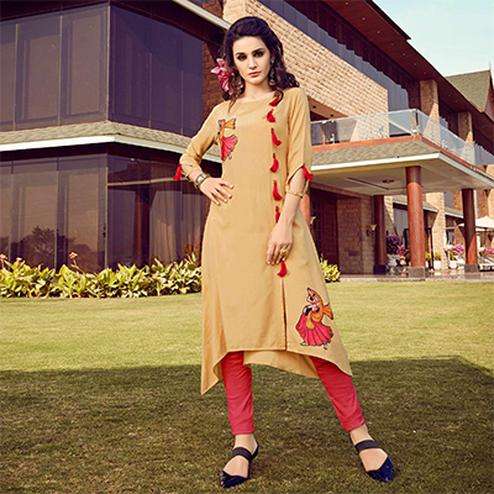 Mesmerising Beige Colored Fancy Designer Rayon Kurti