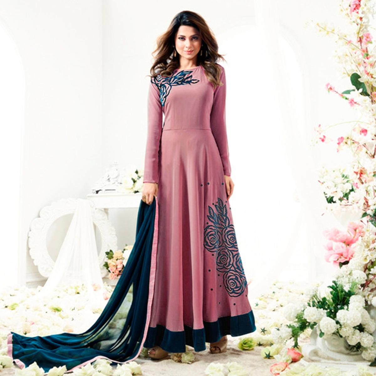 Beautiful Gajri Colored Designer Partywear Embroidered Georgette Anarkali Suit