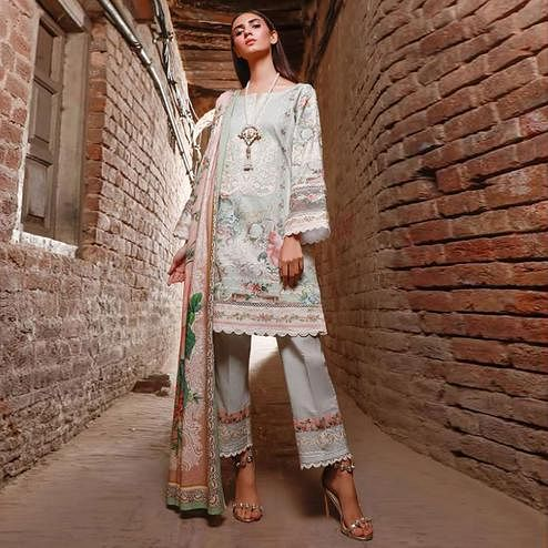 Beautiful White Colored Partywear Floral Printed Pure Lawn Cotton Suit