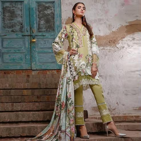 Graceful Green Colored Partywear Floral Printed Pure Lawn Cotton Suit
