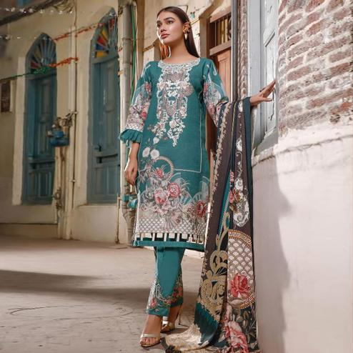 Blooming Turquoise Blue Colored Partywear Floral Printed Pure Lawn Cotton Suit