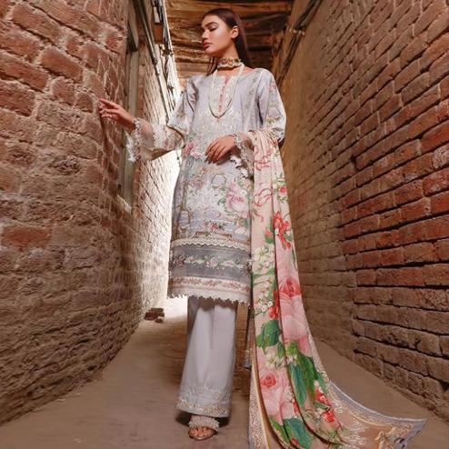Jazzy Light Grey Colored Partywear Floral Printed Pure Lawn Cotton Suit