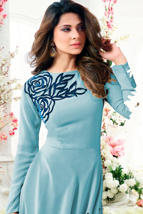 Blooming Sky Blue Colored Designer Partywear Embroidered Georgette Anarkali Suit