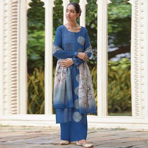 Engrossing Blue Colored Casual Wear Digital Printed Cotton Satin Palazzo Suit