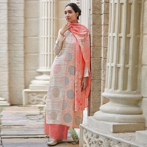 Captivating Peach Colored Casual Wear Digital Printed Cotton Satin Palazzo Suit