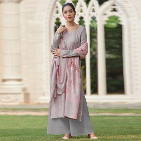 Amazing Pinkish Grey Colored Casual Wear Digital Printed Cotton Satin Palazzo Suit