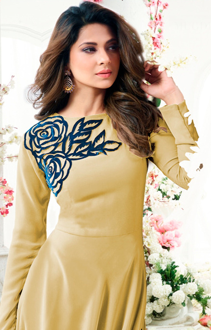 Ravishing Yellow Colored Designer Partywear Embroidered Georgette Anarkali Suit