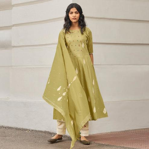 Mesmerising Pista Green Colored Casual Wear Printed Pure Cotton Khadi Suit