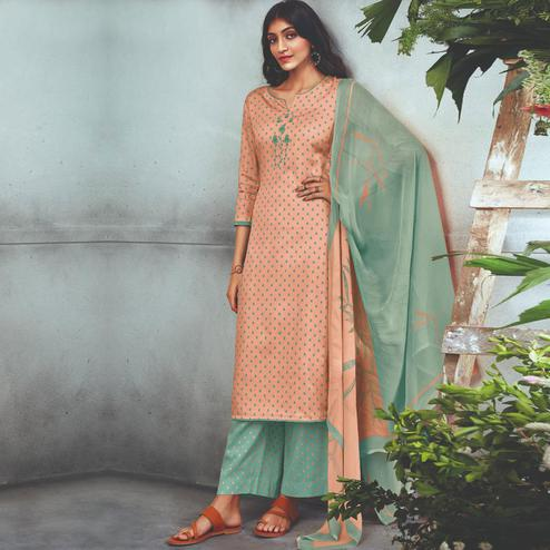 Alluring Light Peach Colored Partywear Embroidered Cotton Satin Palazzo Suit