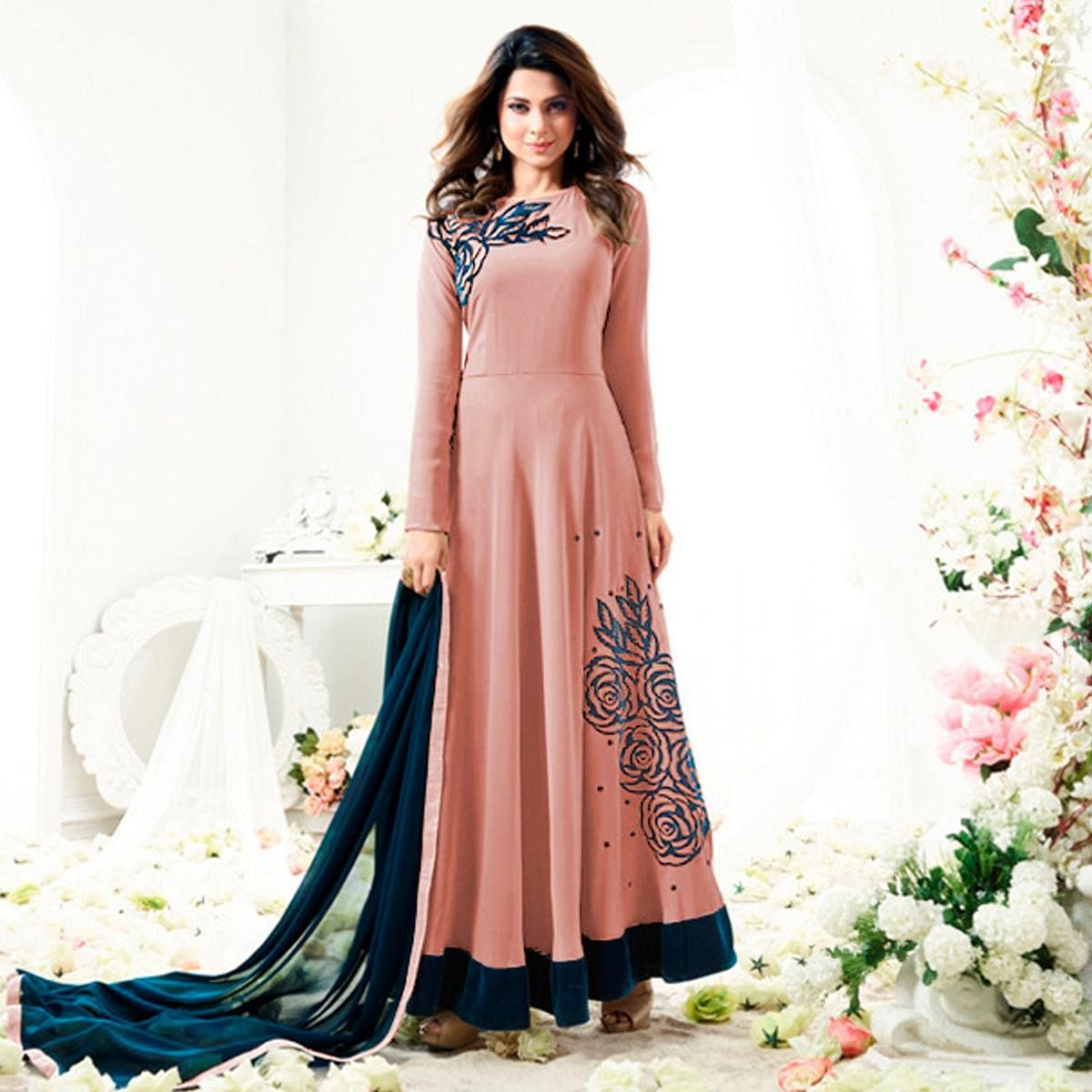 Attractive Peach Colored Designer Partywear Embroidered Georgette Anarkali Suit