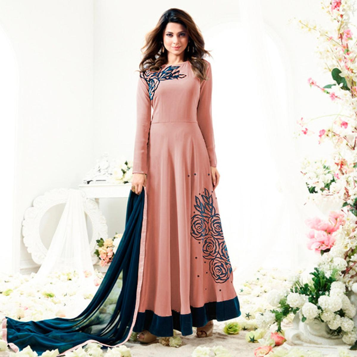 087a639058 Attractive Peach Colored Designer Partywear Embroidered Georgette Anarkali  Suit