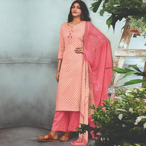 Stunning Peach Colored Partywear Embroidered Cotton Satin Palazzo Suit