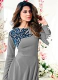 Gorgeous Gray Colored Designer Partywear Embroidered Georgette Anarkali Suit