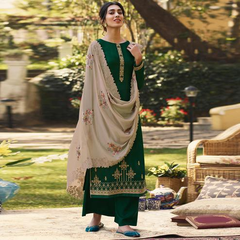 Stylee Lifestyle - Green Tussar Silk Embroidered Dress Material