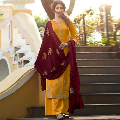 Stylee Lifestyle - Yellow Tussar Silk Embroidered Dress Material