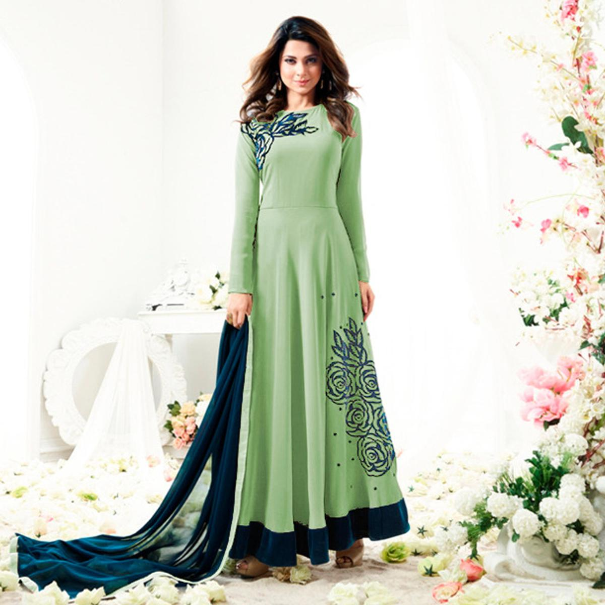 Graceful Green Colored  Designer Partywear Embroidered Georgette Anarkali Suit