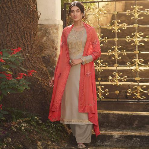 Stylee Lifestyle - Beige Tussar Silk Embroidered Dress Material
