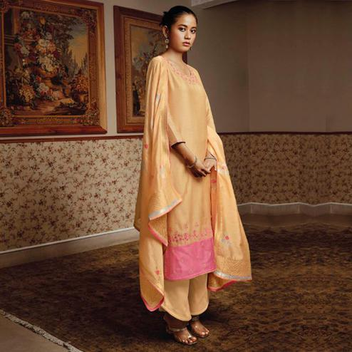 Classy Light Orange Colored Partywear Embroidered Pure Silk Suit