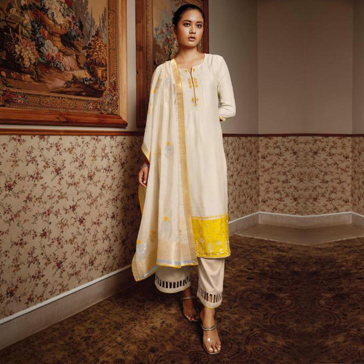 Exclusive Offwhite Colored Partywear Embroidered Pure Silk Suit