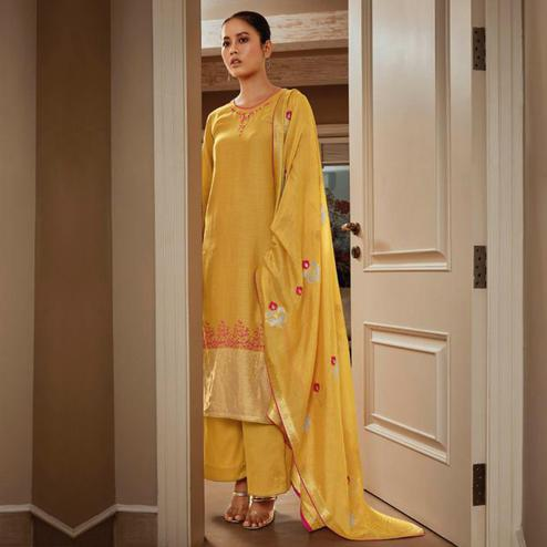 Capricious Yellow Colored Partywear Embroidered Pure Silk Suit