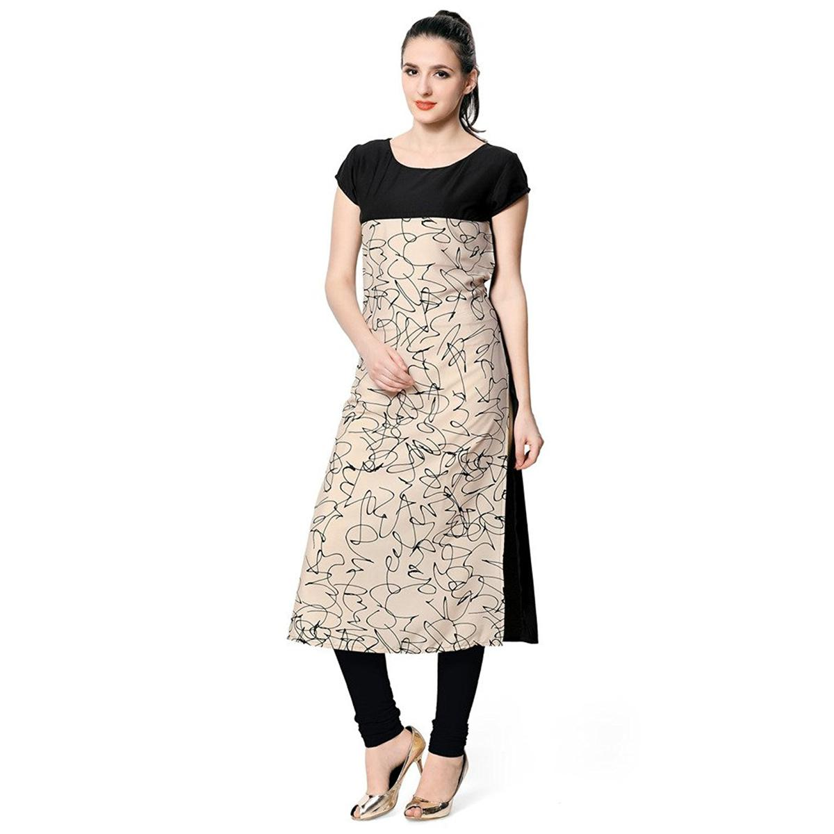 Black-Beige Colored Casual Wear Digital Printed American Crape Kurti