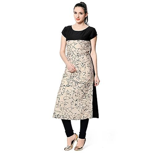 Black-Beige Colored Casual Wear Digital Printed Crape Kurti