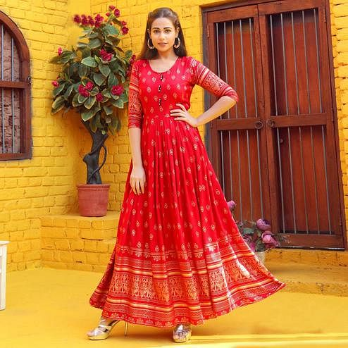 Attractive Red Colored Partywear Heavy Rayon Anarkali Style Long Kurti