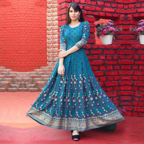 Beautiful Blue Colored Partywear Heavy Rayon Anarkali Style Long Kurti