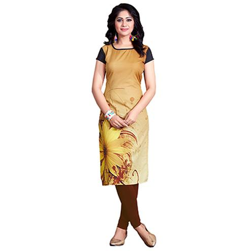 Brown Colored Casual Wear Digital Printed American Crape Kurti