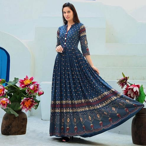 Innovative Navy Blue Colored Partywear Heavy Rayon Anarkali Style Long Kurti