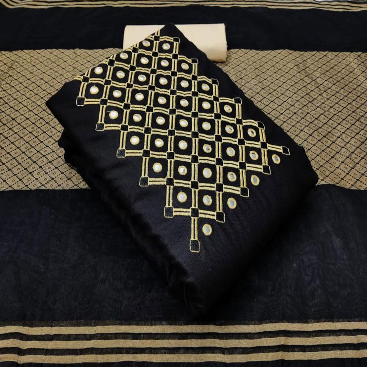Blissful Black Colored Casual Wear Embroidered Cotton Dress Material
