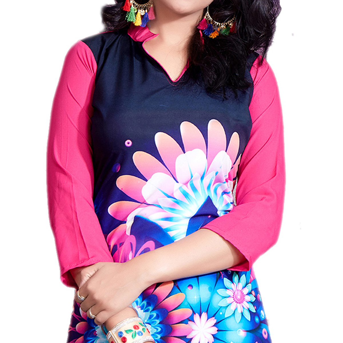 Navy Blue-Pink Colored Casual Wear Digital Printed Crape Kurti