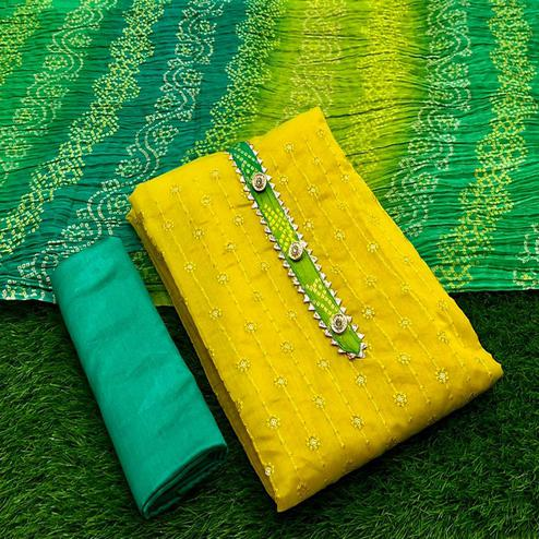 Surpassing Yellow Colored Partywear Embroidered Semi Modal Dress Material