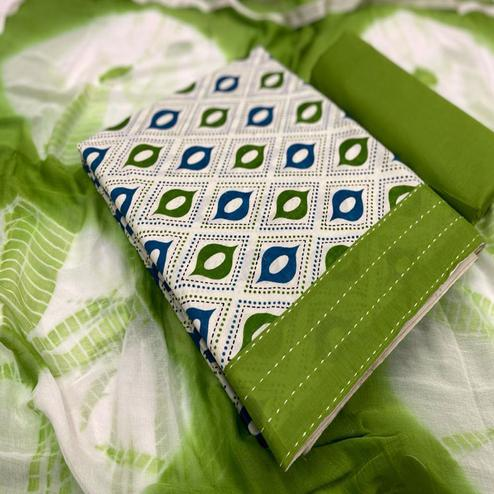 Lovely White - Green Colored Casual Wear Printed Cotton Dress Material