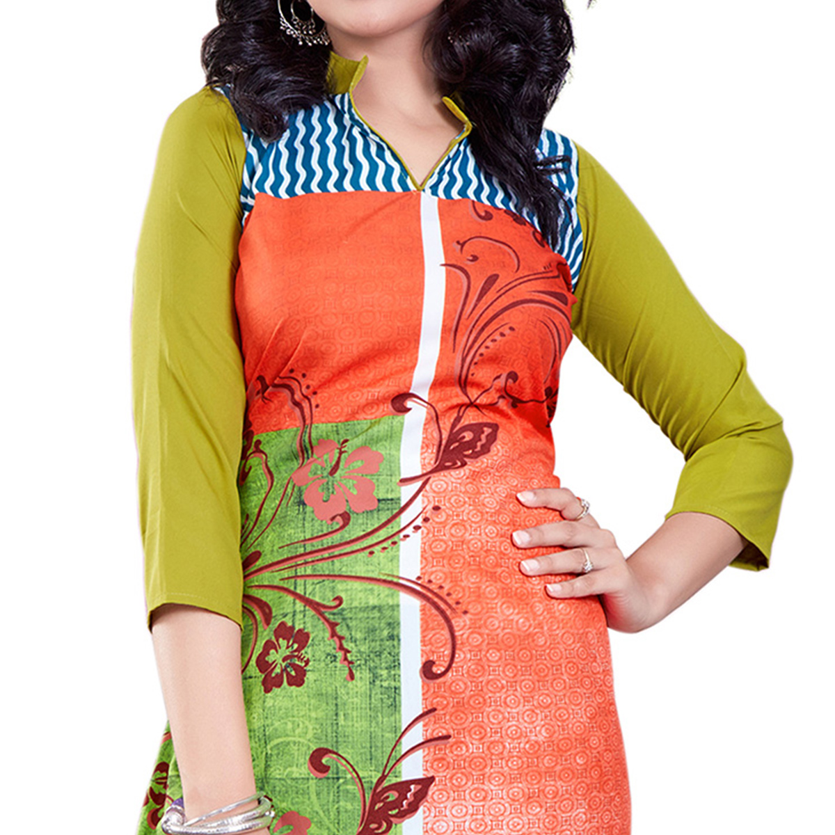 Orange Colored Casual Wear Digital Printed American Crape Kurti