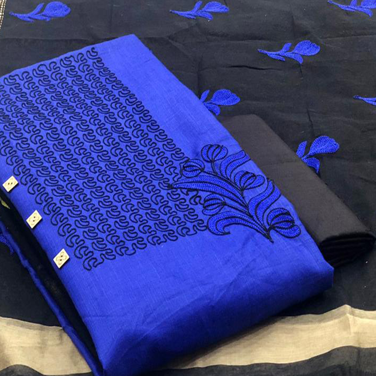 Opulent Royal Blue Colored Partywear Embroidered Cotton Dress Material