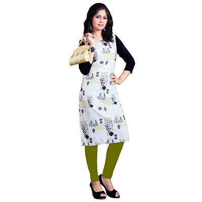 White Colored Casual Wear Digital Printed American Crape Kurti