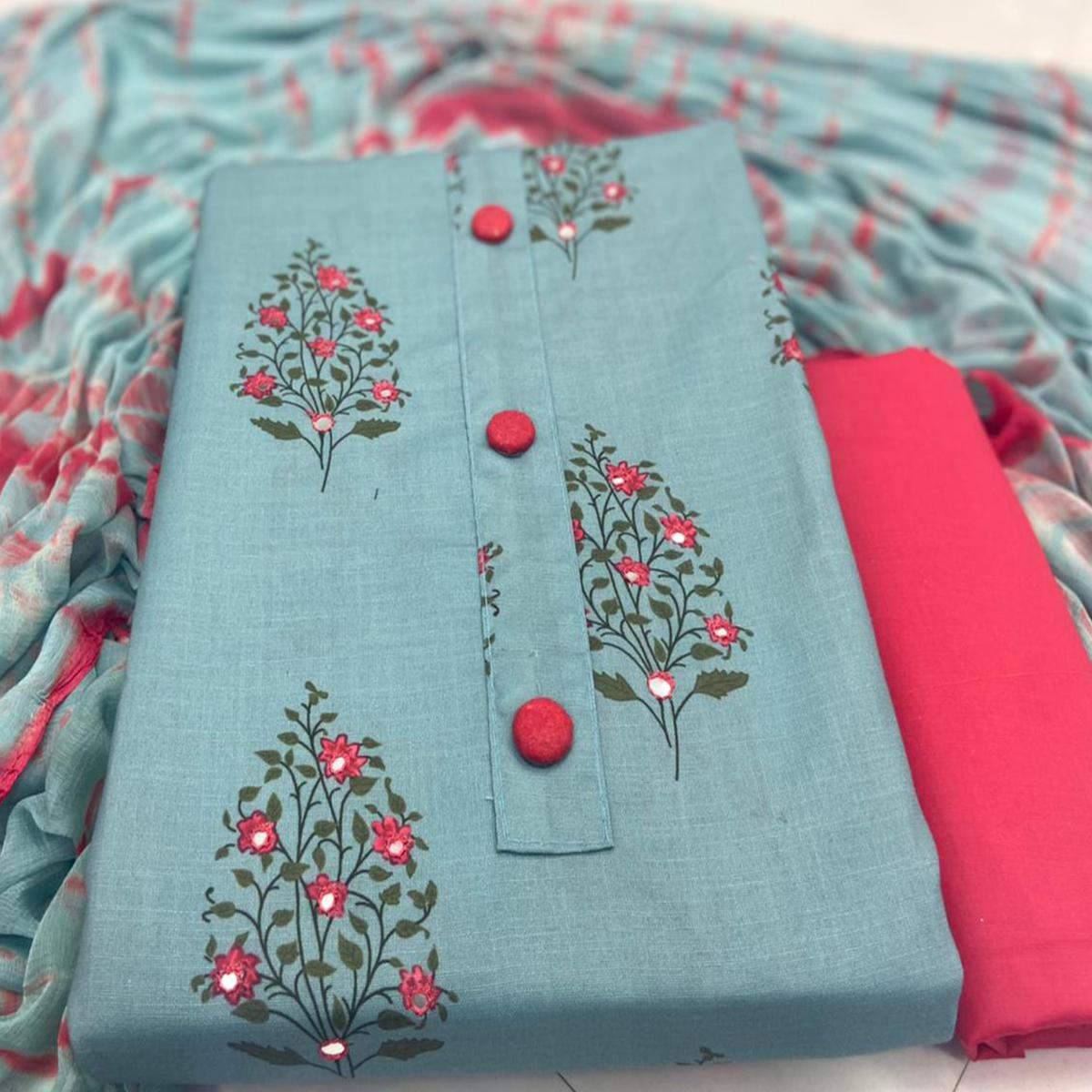 Demanding Sky Blue Colored Casual Wear Digital Printed Cotton Dress Material