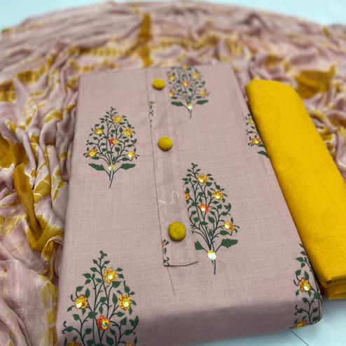 Refreshing Peach Colored Casual Wear Digital Printed Cotton Dress Material