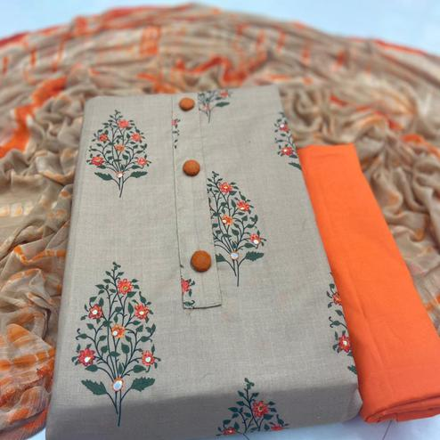 Magnetic Chiku Colored Casual Wear Digital Printed Cotton Dress Material