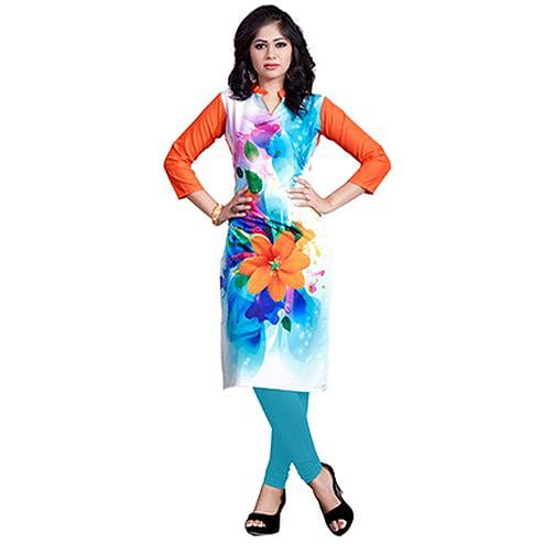 Multi Colored Casual Wear Digital Printed American Crape Kurti